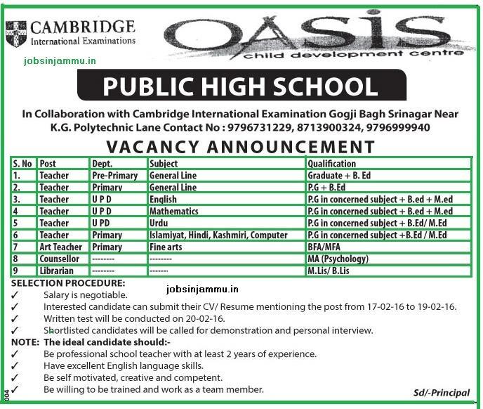 Oasis public High school srinagar, jammu and kashmir